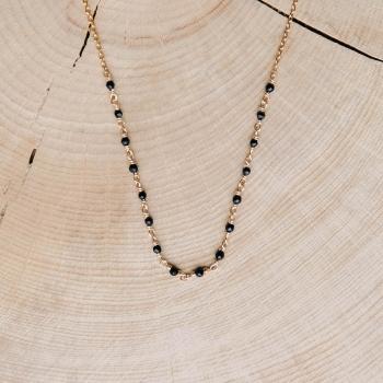 collier freja boucles dorées agate noire