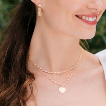 collier ophélia plaqué or boucles dorées et Perles d'eau douce