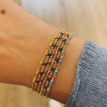 bracelet freja bleu azur turquoise plaqué or