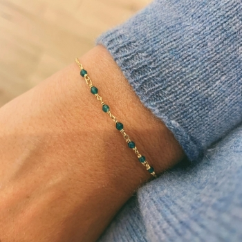 bracelet freja vert basilic agate plaqué or