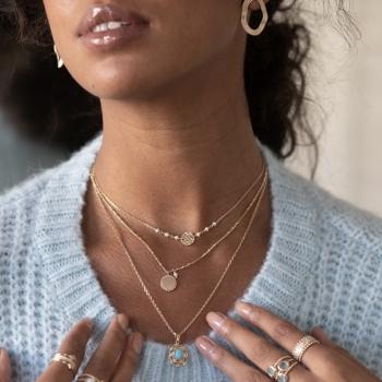 collier letizia perles d'eau douce martelé plaqué or