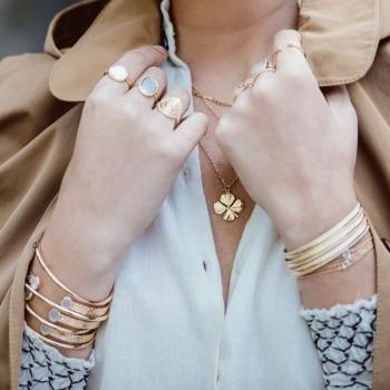 collier aloïse trèfle aspect mat plaqué or