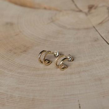 boucles zélie plaquées or doubles minis-créoles anneau simple et anneau perlé