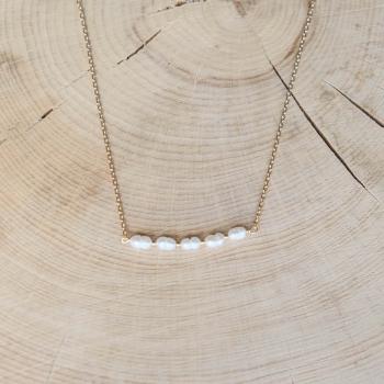 collier brigitte plaqué or perles d'eau douce striées
