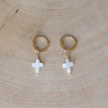 mini créoles maria croix nacre plaqué or