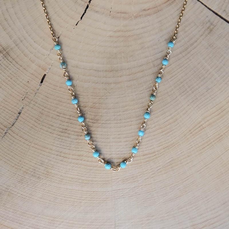 collier freja bleu azur turquoise plaqué or