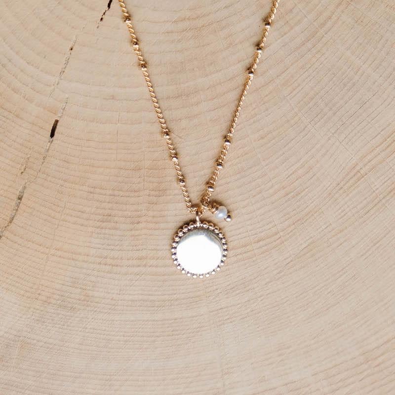 collier kaia plaqué or pendentif doré perle d'eau douce