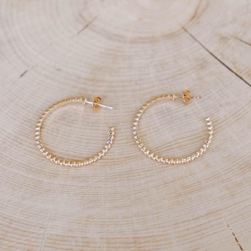 boucles olga créoles ouvertes perlées plaqué or