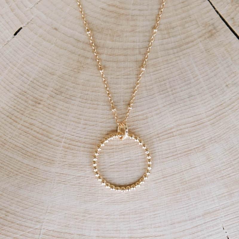 collier amandine anneau perlé plaqué or