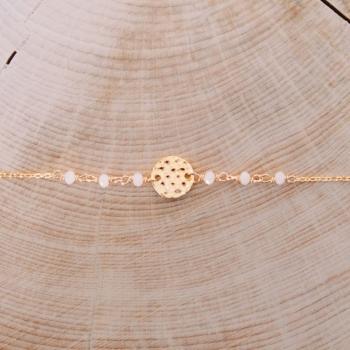 bracelet letizia perles crème martelé plaqué or