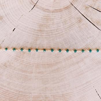bracelet voltaire perles de verre vert d'eau