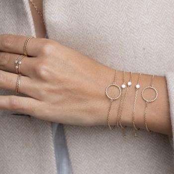 bracelet garance rond torsadé plaqué or