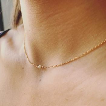 collier mathilde plaqué or perle d'eau douce