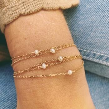 bracelet fin mathilde plaqué or perle d'eau douce solitaire