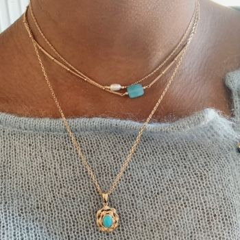 collier magda plaqué or perle d'eau douce ovale