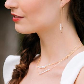 boucles alix plaquées or pendantes serties de perles d'eau douce