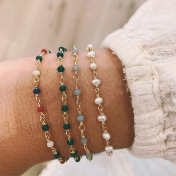 bracelet voltaire perles de verre gris clair
