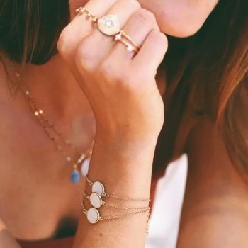 bracelet louison nacre ronde plaqué or