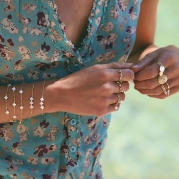 bracelet alice croix nacrées plaqué or