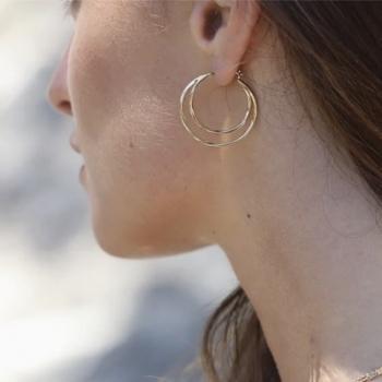 boucles anita anneaux superposés plaqué or