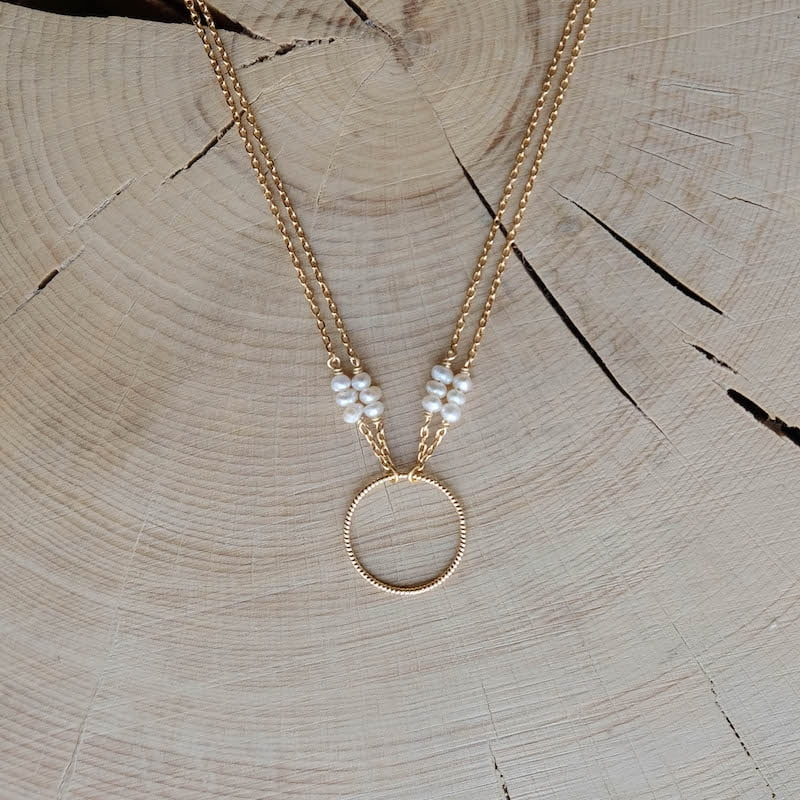 collier anneau double chaîne Claire perles d'eau douce plaqué or