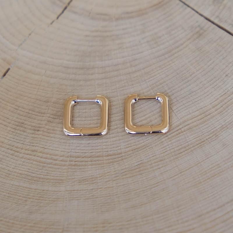 créoles carrées Roxane plaqué or