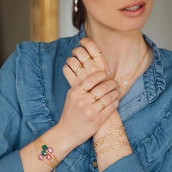 bracelet fin et intemporel Julia anneaux entrelacés plaqué or
