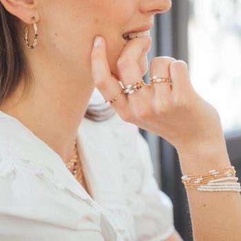 bracelet Isla perles d'eau douce perles dorées plaqué or