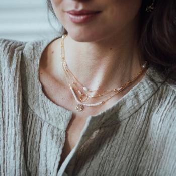 collier fin Bertille perles d'eau douce plaqué or