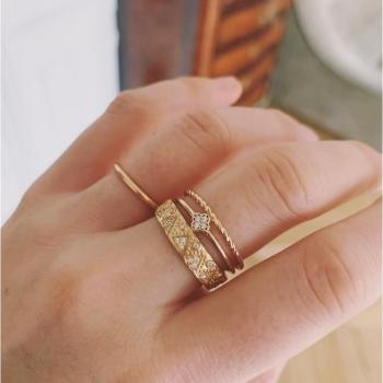 double bague paolina plaquée or anneau torsadé anneau serti de zircons
