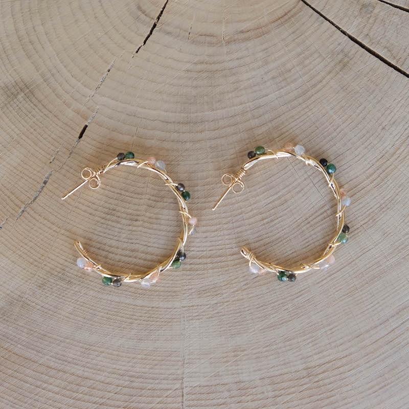 créoles tressées Marion pierres fines plaqué or
