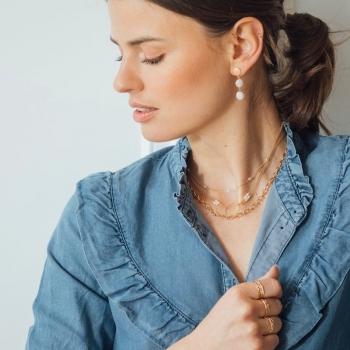 collier maille épaisse Roméo fermoir mousqueton plaqué or