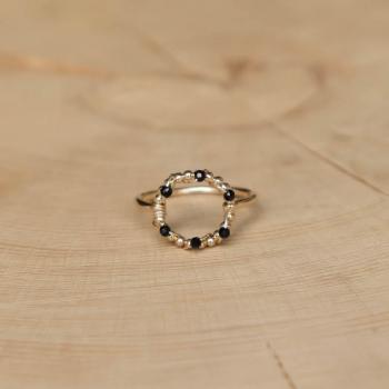 bague fine anneau pierre agate noire