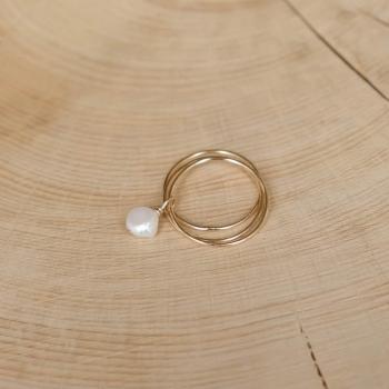 bague 3 anneaux perle d'eau douce
