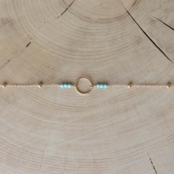 bracelet chaîne perlée anneau pierres turquoise