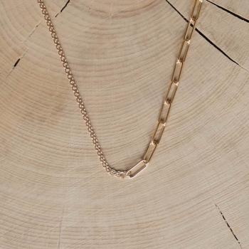 collier mix chaîne fine et chaîne  grosse maille