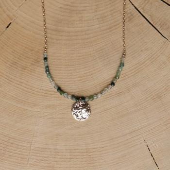 collier médaille martelée pierre aventurine