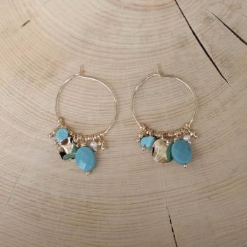 créoles pampilles Turquoise perle d'eau douce