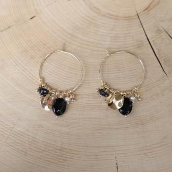 créoles pampilles agate noire perle d'eau douce