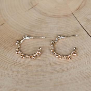 créoles tressées perles dorées