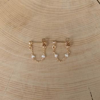 boucles d'oreilles chaîne perles d'eau douce