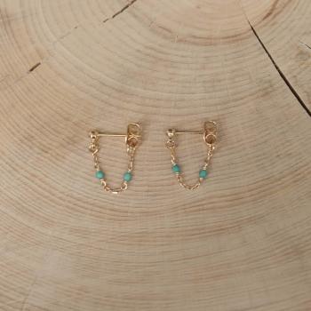 boucles d'oreilles chaîne turquoise
