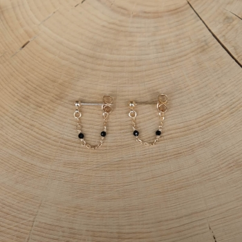 boucles d'oreilles chaîne agate noire
