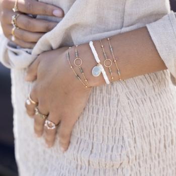 bracelet chaîne perlée pierres aventurine