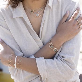 collier chaîne anneau perles aventurine